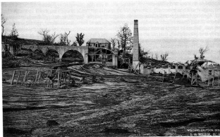 Ruins of the Waterloo Sugar Factory on the eastern slopes of the La Soufriere volcano, 1902.