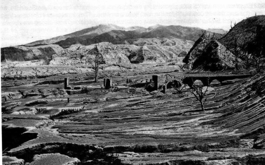 Ruins of the Waterloo Sugar Factory on the eastern slopes of the La Soufriere volcano - in the vicinity of Orange Hill following the 1902 eruption.