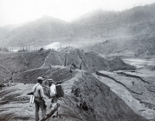 The vegetation in forested areas was leveled by the force of the 1902 eruption.