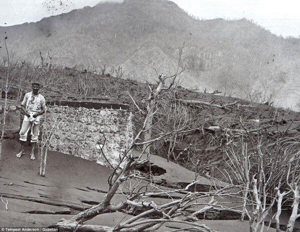 Bare, ash-laden slopes following the 1902 eruption of La Soufriere.