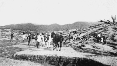 A post-eruption assessment team preparing to assess a plantation following the 1902 eruption of the La Soufriere volcano.