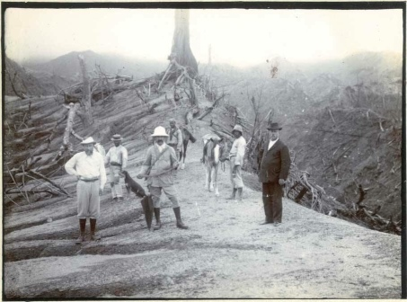 This photograph was taken on the eastern slopes of the La Soufriere volcano following the 1902 eruption.