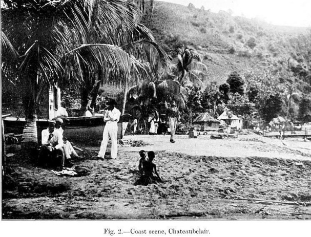 Photo taken on the beach in Chateaubelair following the 1902 volcanic eruption.