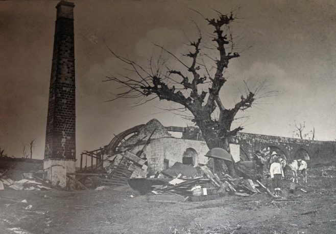 The ruins of the Richmond Great House following the 1902 volcanic eruption.
