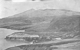 Photograph taken the direction of Wallibou River, north of Richmond, following the 1902 volcanic eruption.