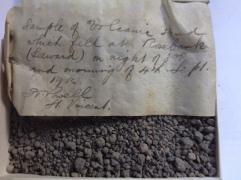 A sample of volcanic sand which fell on Rose Bank on the night of September 3rd and the morning of September 4th, 1902.